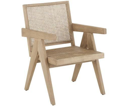 Fotel Sissi, Stelaż: lite drewno dębowe, Stelaż: drewno dębowe Siedzisko: beżowy, S 58 x G 66 cm