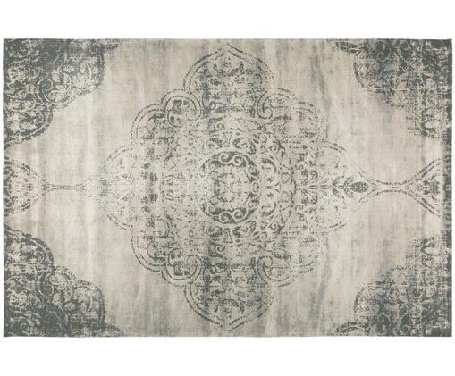 Tapis vintage en tissu chenille tissé à la main Noa, Taupe, gris foncé