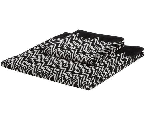 Handdoekenset Vasilij, 2-delig, Weeftechniek: , Zwart, wit, Verschillende formaten