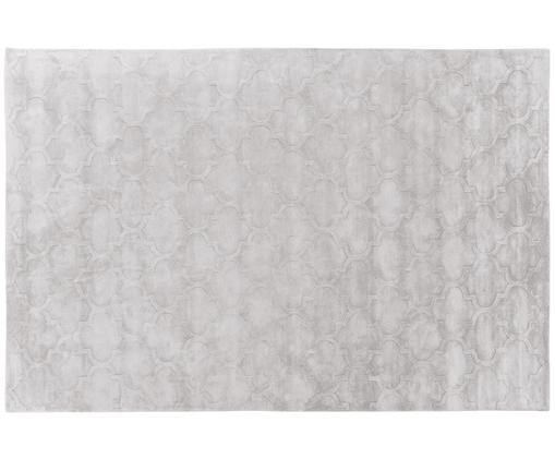 Handgetuft viscose vloerkleed Magali, Bovenzijde: 100% viscose, Onderzijde: 100% katoen, Lichtgrijs, 200 x 300 cm