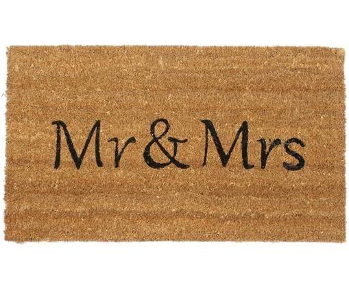 Fußmatte Mr & Mrs, Beige, Schwarz