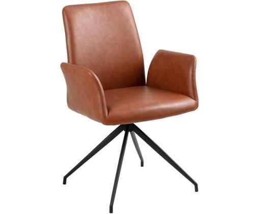 Sedia girevole in similpelle Naya, Rivestimento: similpelle, Struttura: metallo verniciato a polv, Cognac, Larg. 59 x Prof. 59 cm