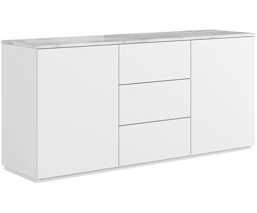 Dressoir Join met wit-grijs gemarmerd tafelblad, Plank: marmer, Frame: gelakt MDF, Wit, 180 x 85 cm