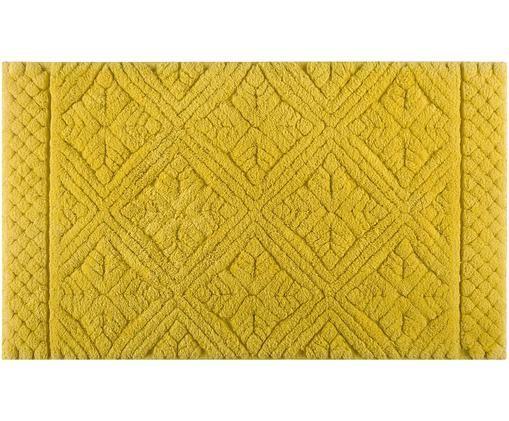 Tapis de bain moelleux jaune Retro, Jaune moutarde