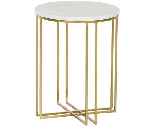 Tavolino in marmo Joyce, Piano d'appoggio: marmo bianco-grigio Struttura: dorato lucido