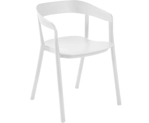 Sedia con braccioli in materiale sintetico Niels, Materiale sintetico verniciato, Bianco, Larg. 52 x Prof. 56 cm