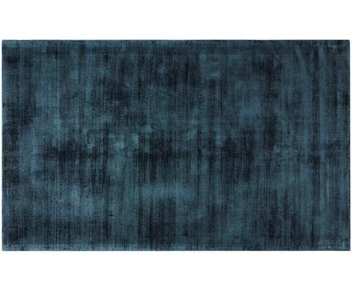 Tappeto in viscosa tessuto a mano Jane, Vello: 100% viscosa, Retro: 100% cotone, Petrolio, Larg. 90 x Lung. 150 cm