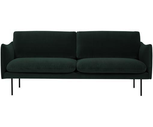 Samt-Sofa Moby (2-Sitzer), Bezug: Samt (Hochwertiger Polyes, Gestell: Massives Kiefernholz, Füße: Metall, pulverbeschichtet, Dunkelgrün, B 170 x T 95 cm