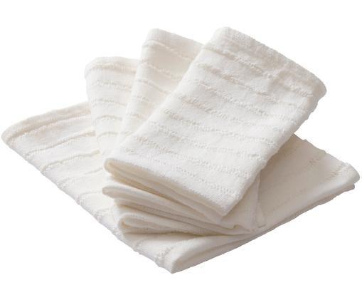 Serviettes de table Loveli, 4pièces, Blanc