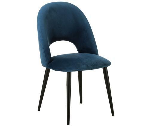 Chaise en velours rembourrée Rachel, Bleu foncé