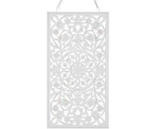 Handgefertiger Wandschmuck Vintage mit Antik-Finish, Mitteldichte Holzfaserplatte (MDF), Weiß, Antik-Finish, 85 x 45 cm