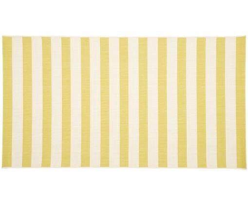 Tappeto da interno-esterno Axa, Vello: polipropilene, Retro: poliestere, Bianco, giallo, Larg. 80 x Lung. 150 cm (taglia XS)