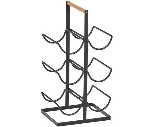 Stojak na wino Hadena, Metal, Czarny, jasnobrązowy, S 24 x W 46 cm