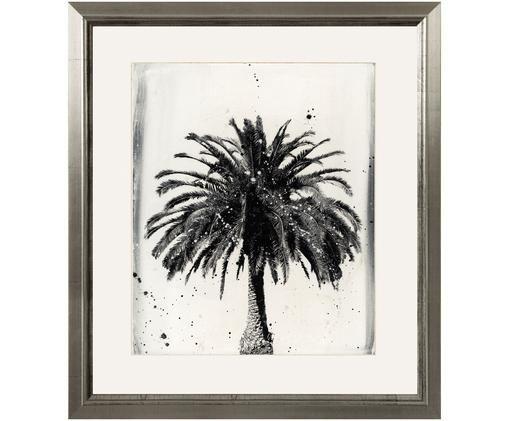 Oprawiony druk cyfrowy L.A Dream, Ilustracja: czarny, biały Rama: odcienie srebrnego, S 60 x W 70 cm