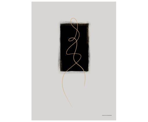 Plakat Pose, Druk cyfrowy na papierze, matowy 180 g/m², Jasny szary, czarny, odcienie złotego, S 21 x W 30 cm