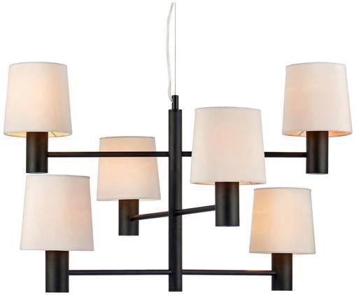 Samt-Pendelleuchte London, Gestell: Stahl, Lampenschirm: Polyestersamt, Gestell: Schwarz Lampenschirme: Weiß Kabel: Transparent, Ø 72 x H 47 cm