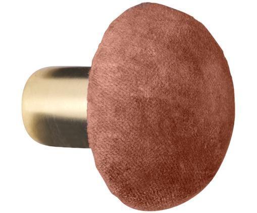 Hak ścienny z aksamitu Helene, Odcienie mosiądzu, rdzawy brązowy, Ø 6 x G 5 cm