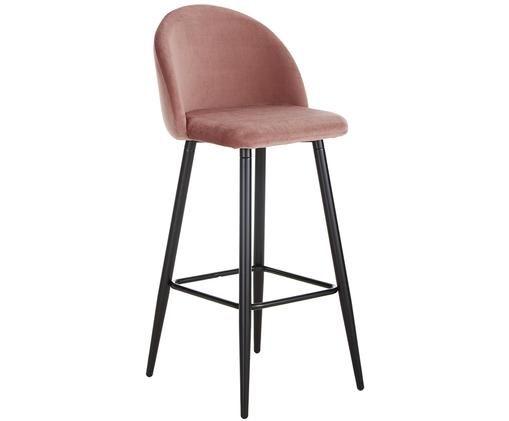 Sedia da bar rosa Amy in velluto, Rivestimento: velluto (poliestere) 20.0, Gambe: metallo verniciato a polv, Rivestimento: rosa gambe: nero opaco, Larg. 45 x Alt. 103 cm