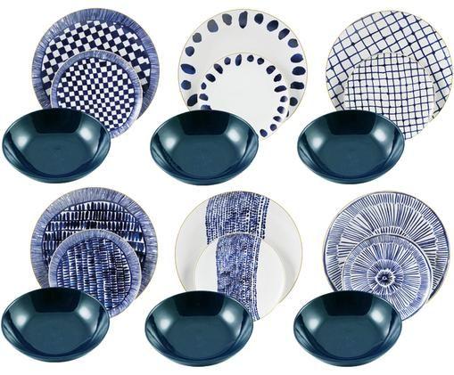 Vaisselle Masai, 6personnes (18élém.), Blanc, bleu, bleu foncé Bord: or