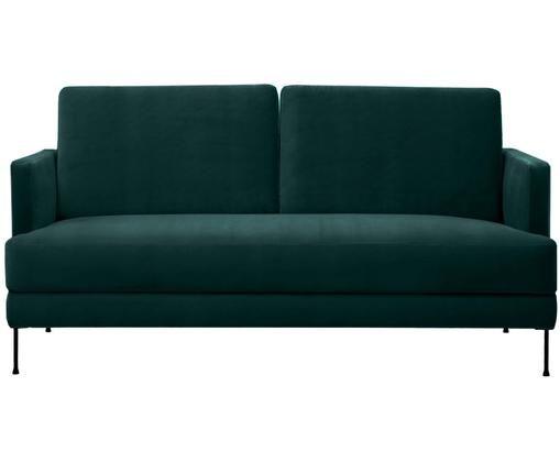Samt-Sofa Fluente (2-Sitzer), Bezug: Samt (Hochwertiger Polyes, Gestell: Massives Kiefernholz, Füße: Metall, lackiert, Dunkelgrün, B 168 x T 83 cm