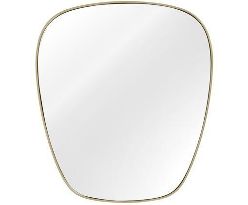 Specchio da parete Antje, Cornice: metallo nichelato, Superficie dello specchio: lastra di vetro, Retro: pannello di fibra a media, Dorato opaco, Larg. 65 x Alt. 75 cm