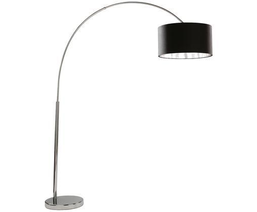 Lámpara arco Arc, Negro, cromo, Ø 45 x Al 200 cm
