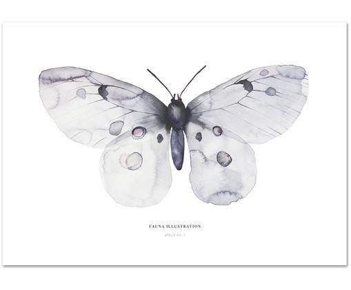 Póster Apollo, Impresión digital sobre papel, 200 g/m², Gris azulado, blanco, An 30 x Al 42 cm