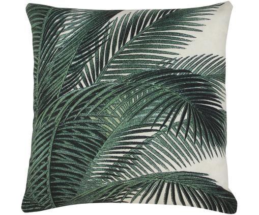 Kissen Vivi mit Palmenprint, mit Inlett, Hülle: Baumwolle, Grün, Weiss, 45 x 45 cm