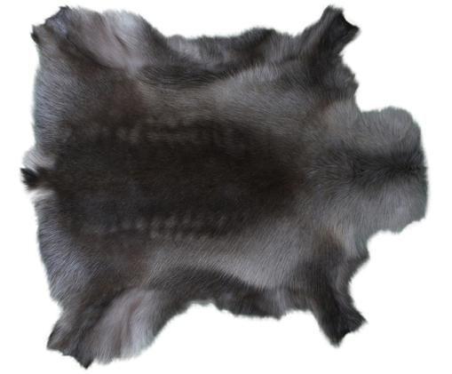 Alfombra de piel de reno Berndo, Piel de reno, Marrón oscuro, Piel de reno única 232