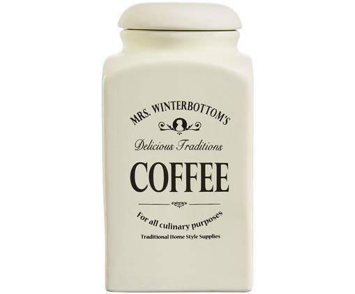 Aufbewahrungsdose Mrs Winterbottoms Coffee, Steingut, Creme, Schwarz, Ø 11 x H 21 cm