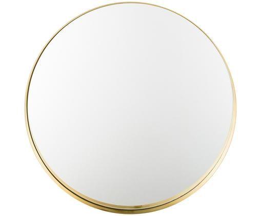 Runder Wandspiegel Metal mit Goldrahmen, Rahmen: Metall, lackiert mit gewo, Rahmen: Goldfarben<br>Spiegelglas, Ø 51 cm