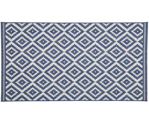In- & Outdoorteppich Miami, Flor: Polypropylen, Weiss, Blau, B 80 x L 150 cm (Grösse XS)