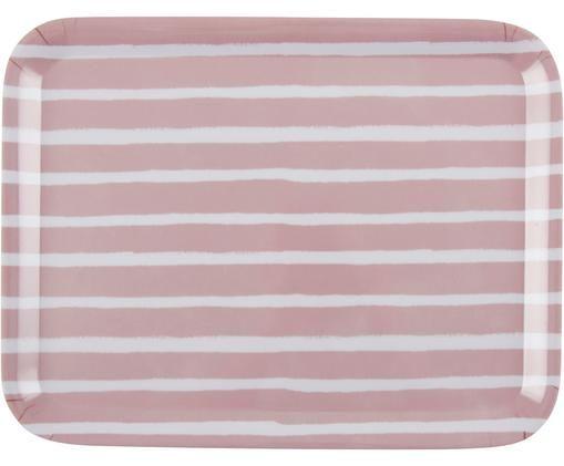 Vassoio Striped, Melamina, Rosa, bianco, Larg. 29 x Prof. 22 cm