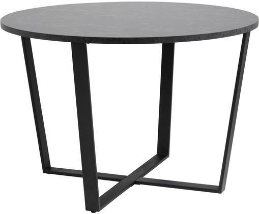 Tavolo da pranzo rotondo con piano d'appoggio Amble, Piano d'appoggio: pannello di fibra a media, Gambe: metallo verniciato a polv, Nero, Ø 110 x Alt. 75 cm