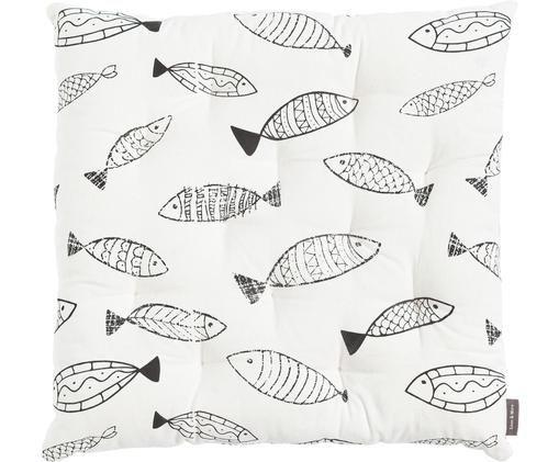 Sitzkissen Fishes in Schwarz-Weiß, Baumwolle, Weiß, Schwarz, 40 x 40 cm