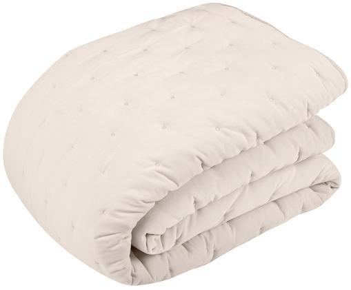 Colcha de terciopelo acolchada Cheryl, 100%algodón, Champán, An 160 x L 220 cm