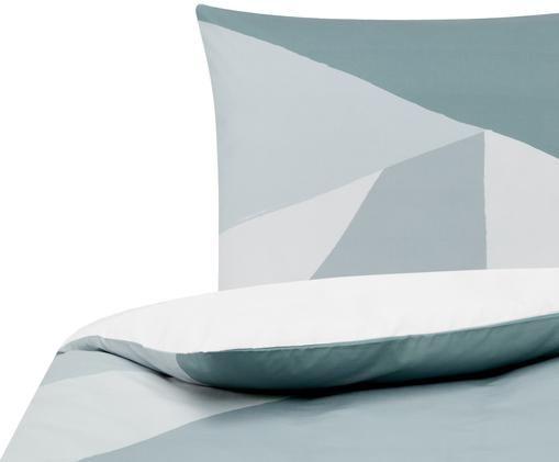 Perkal-Bettwäsche Colorblock mit geometrischem Muster, Webart: Perkal Fadendichte 180 TC, Blau, Grau, Cremeweiß, 135 x 200 cm