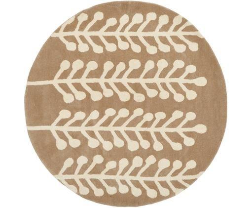 Rond wollen vloerkleed Wool Herbs, Bovenzijde: wol, Onderzijde: katoen, Lichtbruin, crèmekleurig, Ø 200 cm