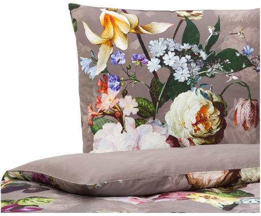 Baumwollsatin-Bettwäsche Fleur mit Blumenmuster, Taupe, Mehrfarbig (Weiß, Grün, Gelb), 135 x 200 cm