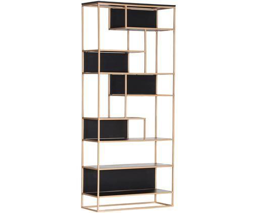 Libreria di design di alta qualità Porto, Struttura: metallo, verniciato, Ottonato, nero, Larg. 87 x Alt. 200 cm