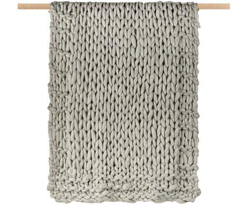 Plaid in lana lavorato a maglia Fern, 60% lana, 40% acrilico, Grigio, Larg. 120 x Lung. 150 cm
