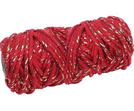 Geschenkschnur Twist, Baumwolle mit Lurexfaden, Rot, Goldfarben, L 25 m