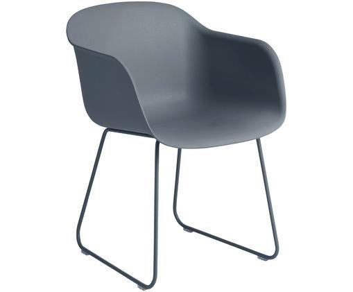 Armlehnstuhl Fiber mit Kufengestell, Sitzfläche: Recyclebarer Kunststoff m, Beine: Stahl, pulverbeschichtet, Grau, 51 x 77 cm