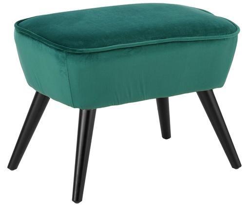 Taburete de terciopelo Lucky, Tapizado: terciopelo (poliéster) 30, Patas: madera de caucho pintada, Verde azulado, An 56 x Al 41 cm
