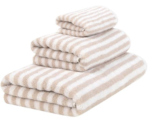 Set asciugamani reversibili Viola, 3 pz., 100% cotone, qualità media 550 g/m², Sabbia, bianco crema, Diverse dimensioni