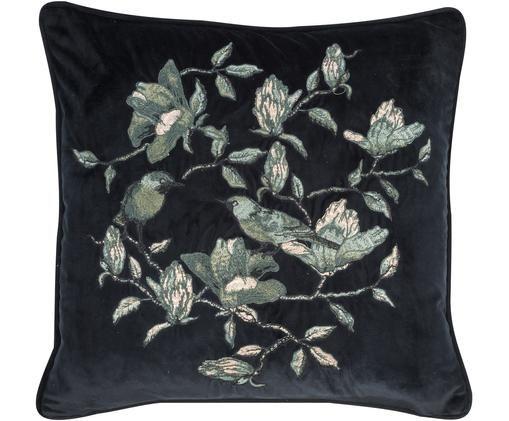 Cuscino in velluto ricamato Colibri, con imbottitura, Rivestimento: velluto di poliestere, Nero, tonalità verdi, Larg. 45 x Lung. 45 cm
