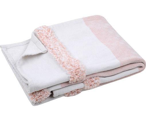 Pled Pimperlet, Bawełna, Złamana biel, blady różowy, S 125 x D 150 cm