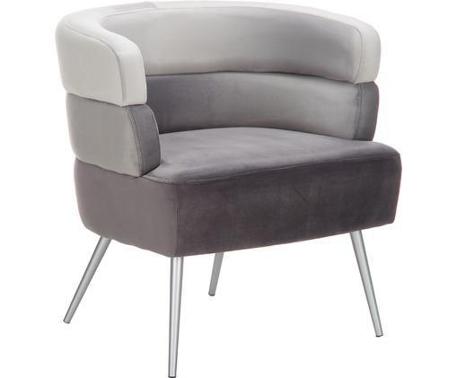 Fluwelen fauteuil Sandwich in retro-design, Bekleding: polyester fluweel, Poten: gecoat metaal, Grijs, B 65 x D 64 cm