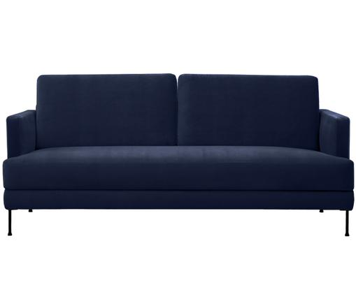 Samt-Sofa Fluente (3-Sitzer), Bezug: Samt (Hochwertiger Polyes, Gestell: Massives Kiefernholz, Füße: Metall, lackiert, Dunkelblau, B 197 x T 83 cm