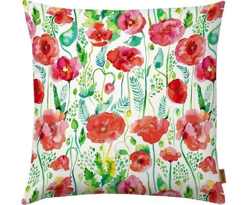 Poszewka na poduszkę Watercolor Poppies, Poliester, Biały, wielobarwny, S 40 x D 40 cm